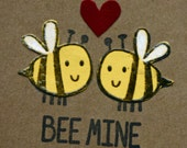 Bee Mine, valentines card,  I love you, anniversary, thinking of you, cut paper, yellow bees, kraft, yellow and black, insects