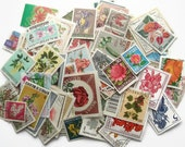 20 x flowers, world postage stamps | modern + vintage random floral mixed used stamps | crafting, collage, upcycling, decoupage, collecting