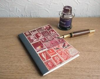 Burgundy Red A6 Month Planner + A-Z Index - Vintage Postal Stamp Art