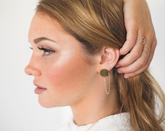 Chain Swoop Posts. Golden Brass Disks. Circle Earrings. Post Earrings. Chain Post Earrings. Round Gold Earrings Modenr. Minimal. Simple.