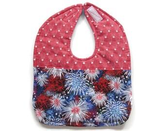 Patriotic Patchwork Reversible Baby Bib - Fourth of July Baby Bib - Red White and Blue Baby Bib - Fireworks  Bib