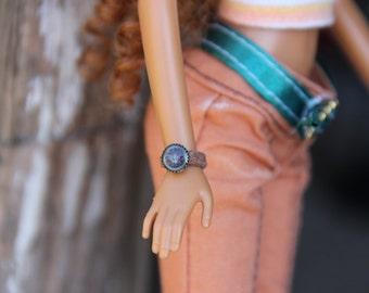 "Leather Straped Watch Doll Jewelry fits Petite Slimline & 1/6th 11 1/2 - 12"" Fashion Dolls Monster Dolls OOAK"
