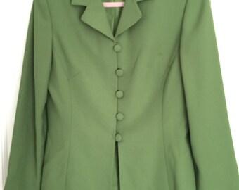 Vintage green Le Suit Paris New York jacket coat womens size 8 retro classic hipster