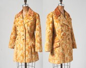 Vintage Chenille Tapestry Jacket, 1960s Golden Floral Carpet Coat, Fingertip Length Womens Equestrian Style Car Coat