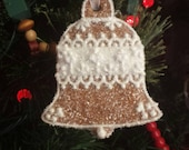 Bell Christmas Ornament Wedding Favor Gingerbread Glittered Decoration Ornament
