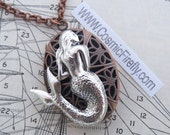 Mermaid Locket Silver Mermaid Necklace Copper Oval Locket Gothic Victorian Nautical Steampunk Locket Copper Rolo Chain Woman's Girls Locket