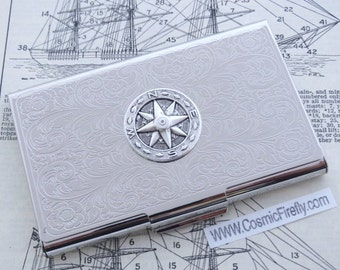 Compass Business Card Case Nautical Card Case Silver Card Case Nautical Compass Metal Card Holder Gothic Victorian Steampunk Travel Gift NEW