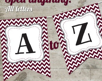 Texas A&M Gig 'Em Aggies Chevron Printable Banner, Letters A-Z + Numbers