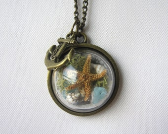 Beach in a Bubble Necklace w/ Real Starfish, Sea Glass, Sand and Shells - Beaches of 30-A - Handmade - One of a Kind