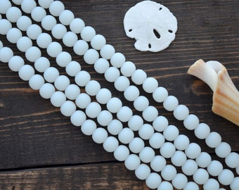 """Frosted Snow White, 6mm Round Cultured Glass Beads, 34 beads, 8"""" strand, Cultured Sea Glass, Jewelry Making Supplies"""