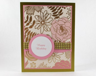 Elegant birthday cards, pink and gold, feminine birthday cards, happy birthday cards, personalized cards, wife, girlfriend, daughter, mother