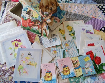 Box of Vintage Gift and Greeting Cards Adorable Graphics all Unused!
