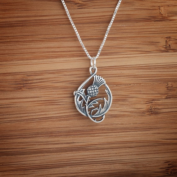 Scottish Thistle - STERLING SILVER -  Double-Sided - (Pendant, Necklace, or Earrings)