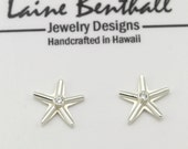 Starfish Post Earrings w-Stone, Sm. (Cubic Zirconia) Made to Order