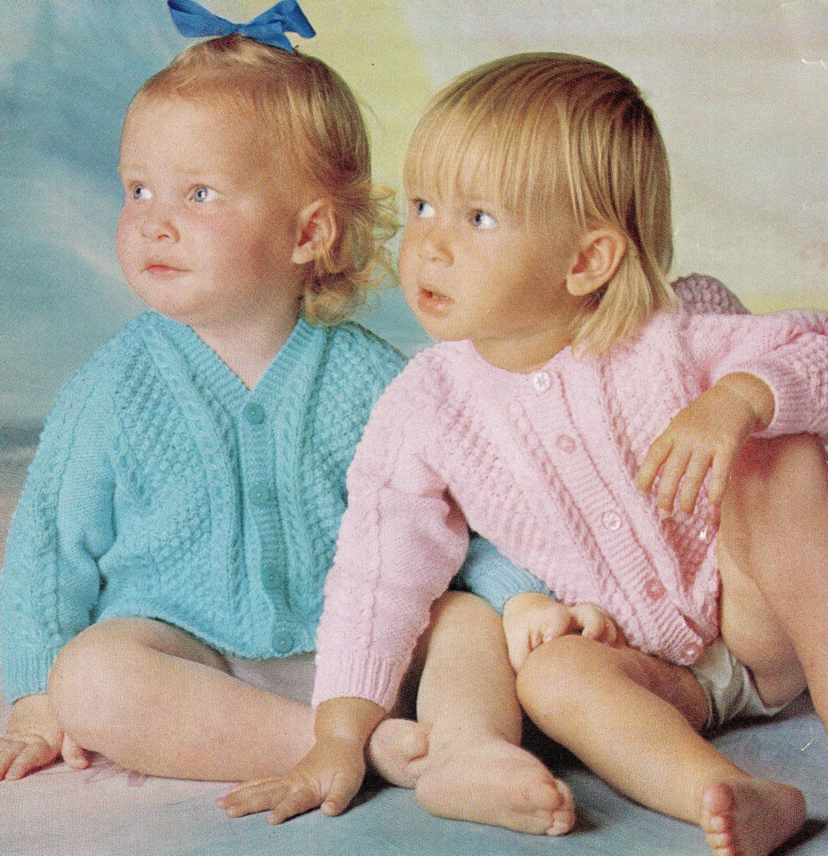 Knitting Pattern Cardigan 8 Ply : Vintage Baby Knitting Pattern Cardigans Boy or Girl / 8 ply