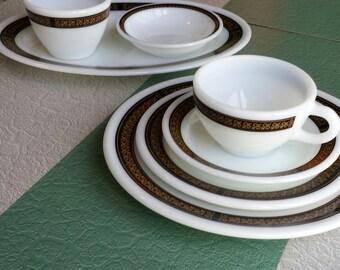 PYREX/Corning ~ Decor Dinnerware ~ 'Ebony' Pattern ~ 7-Piece Place Setting ~ Restaurant-Ware ~ Fleur-de-Lis ~