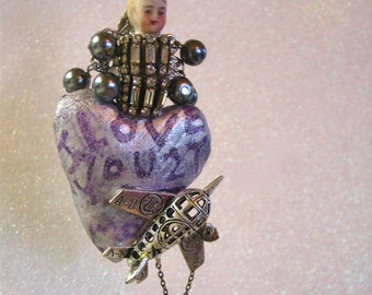 Vintage Christmas Bisque doll Ornament assemblage collage Heart Love art doll ornament Wall decor art sculpture One of a kind art doll