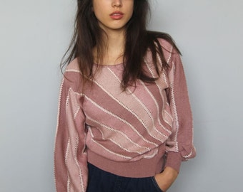 the emma sweater -- vintage 80's striped mauve knit sweater size S/M