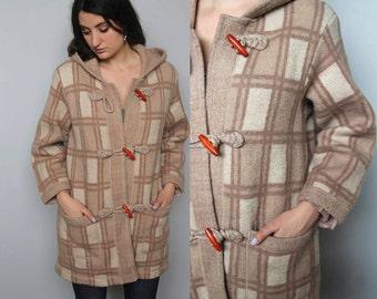 pilgrim -- gorgeous wool plaid toggle-front coat size S/M