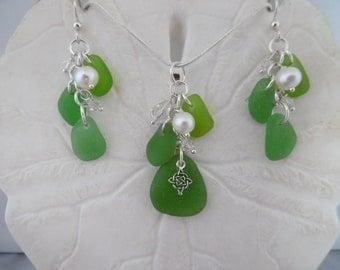 Sea Glass Jewelry Necklace Earrings Set Sterling Irish Green Celtic Beach Glass Jewelry St. Patrick's Day