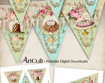Printable Party Pennants VICTORIAN CONFECTIONERY triangle Banners digital download collage sheets vintage shabby printable images ArtCult