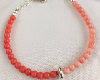 Two Shades of Coral Skinny Bracelet
