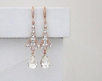 Rose Gold Crystal earrings, Rhinestone Wedding earrings, Bridal earrings, Wedding jewelry, Vintage style earrings, Swarovski crystal