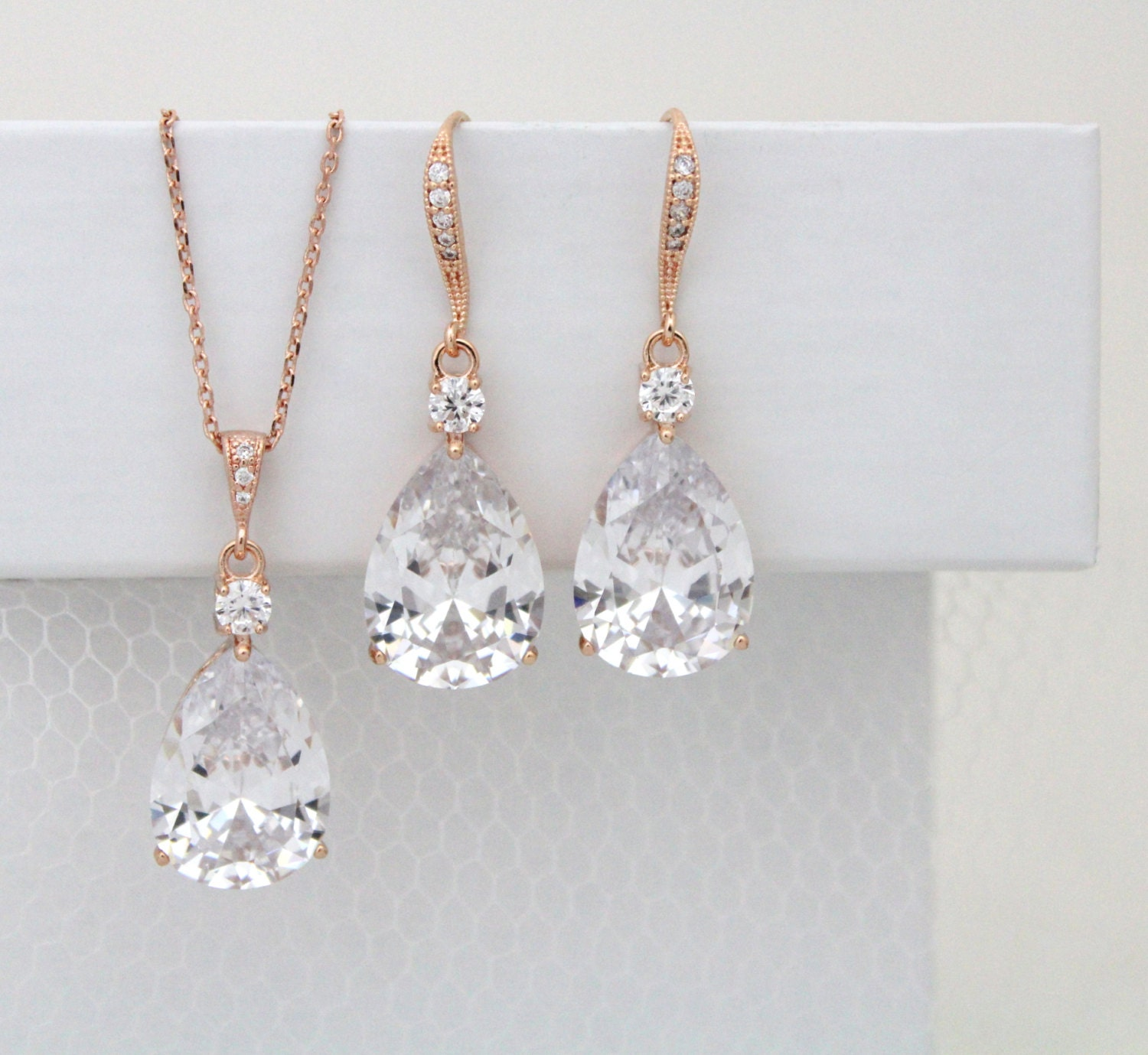 Rose Gold Wedding jewelry SET Bridal necklace Set by ...