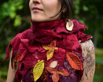 Felt Autumn Woodland Neck Warmer-Felt Autumn Leaf-Pixie Shawl-Woodland Costume-Wool Scarf-Felt Leaves-Fairy Costume-Wearable Art-ShawlOOAK