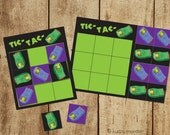 Printable Halloween Tic Tac TOE game funny gross non candy Halloween idea zombie toes severed toes green black and purple easy DIY printable