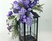 Easter Lantern Decorations, Easter Lantern Swag with Lilies in Purple & Lavender, Lantern Decoration Ideas, Decorating With Lanterns