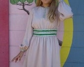 60s Mini Dress in Pink with Silver Braiding and Green Velvet Ribbon for Special Occasions  1960's Pink Size Small Dress