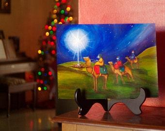 Three Wise Cats Christmas Original Acrylic Painting