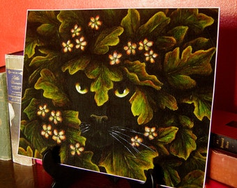 Greenman Black Cat Art Print 11x14 Archival Reproduction