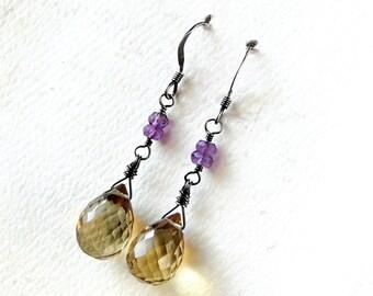 Whiskey Quartz Earrings, Amethyst, Oxidized Sterling Silver - Honeyberries by CircesHouse on Etsy