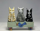 SALE,Whimsical Folk Art Object, Mixed Media, Cats, Bird, Rat, Clay, Wood, Glass
