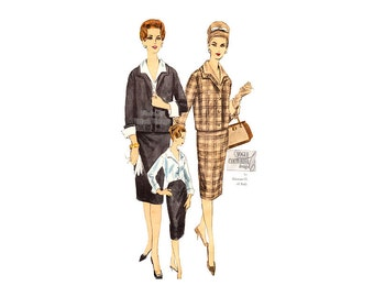 1960's Womens Suit Pattern, Vintage Vogue Couturier 207, Straight Jacket, Shawl Collar, Blouse and Slim Skirt Sewing Pattern, Bust 34, Label