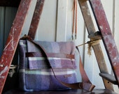 Repurposed Blanket Unisex Music Satchel in Grape and Grey w Medium Kangaroo Leather features