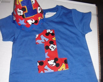 Infant/Toddler Boys 1st First Birthday Mickey Mouse Clubhouse Inspired Birthday Shirt and Hat Set 12m 18m 24m 2T