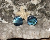 Blue Paua Shell Stud Earrings Earings Titanium Posts and Clutches Handmade in Newfoundland 10mm Round Hypo Allergenic