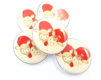 "5 NO HOLE Deer and Heart Buttons for Earrings, Hair Bows or Glue On Embellishments Valentine Card Embellishment 3/4""or 20 mm."