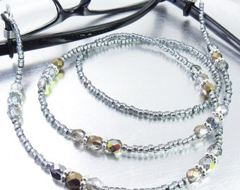 Black Amber Crystal Glass and Black Diamond Glass Beaded Eyeglass Lanyard, Eyeglass Leash/Necklace