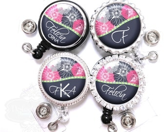 Flower Badge Reel - Personalized Retractable Navy and Pink Flowers Lanyard ID Holder with Name, Monogram, Occupation Title (A101)