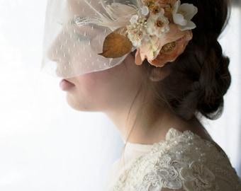 Birdcage veil, peach flower bridal clip, bandeau veil, Ranunculus bridal clip, gold leaves bridal clip, gold veil, wedding veil, veil,