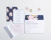 Blush Pink and Navy Blossoms Botanical Invitation, Wedding Announcement, Wedding Invitation Collection