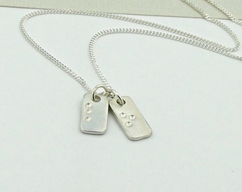 Secret Message Silver Necklace - Braille Silver Pendant-Silver Tag Initial Necklace-personalised anniversary gift for her -valentine gift-uk