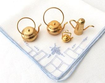 4 Miniature Brass Tea Pots Coffee Pot Vintage