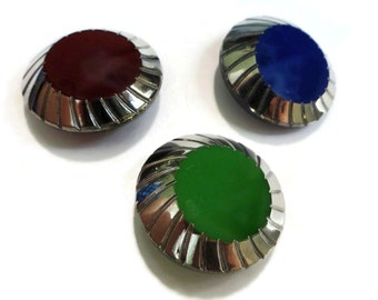 Art Deco Antique Glass Button 1900s Vintage Choice of Red Green Blue Chocolate 7/8 inch 22mm for Jewelry Beads Sewing Notions Knitting