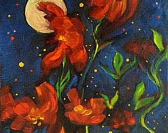 Flower Painting Original Art, Moon Painting, Wall Art, Home Decor,