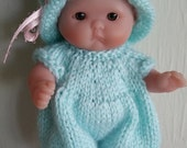 Berenguer Baby Doll Knitting Pattern Romper and Hat Set fits chubby 5 inch itty bitty pdf knitting pattern instant download